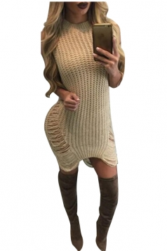 Womens Sexy Sleeveless Cut Out Bodycon Sweater Clubwear Dress Khaki