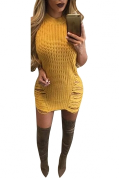 Womens Sexy Sleeveless Cut Out Bodycon Sweater Clubwear Dress Yellow