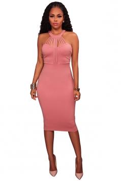Sexy Halter Sleeveless Cut Out Slit Zipper Bodycon Clubwear Dress Pink