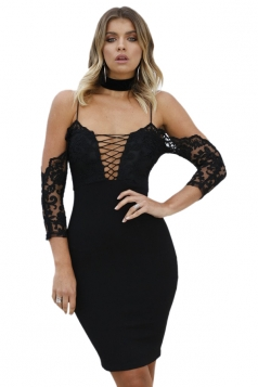 Spaghetti Straps Deep V Cross Lace Up Slit Zipper Clubwear Dress Black