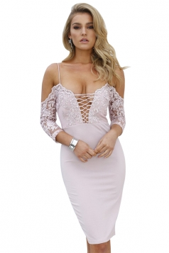 Spaghetti Straps Deep V Cross Lace Up Slit Zipper Clubwear Dress Pink