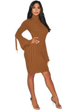 Womens Sexy Eyelet Lace Up Bell Sleeve Sweater Clubwear Dress Brown