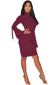 Womens Sexy Eyelet Lace Up Bell Sleeve Sweater Clubwear Dress Purple