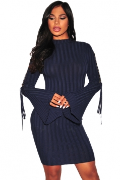 Womens Eyelet Lace Up Bell Sleeve Sweater Clubwear Dress Navy Blue