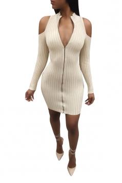 Deep V Old Shoulder Zipper Bodycon Knit Clubwear Dress Beige White
