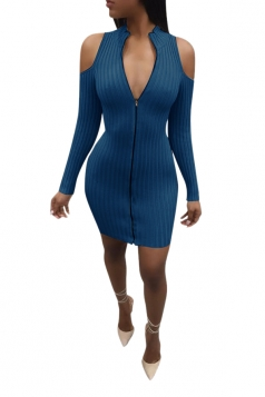 Sexy Deep V Cold Shoulder Zipper Bodycon Knit Clubwear Dress Navy Blue
