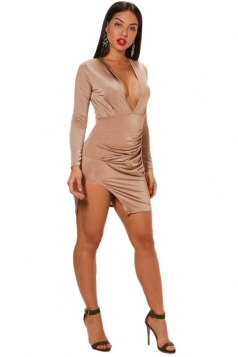 Deep V-Neck Long Sleeve Slit Pleated Bodycon Clubwear Dress Apricot