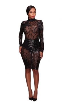 Womens Sexy Backless Sheer Sequined Bodycon Clubwear Dress Black