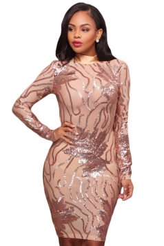 Womens Sexy Backless Sheer Sequined Bodycon Clubwear Dress Beige White