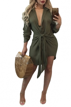 Womens Sexy V-Neck Long Sleeve Lace Up Clubwear Shift Dress Army Green