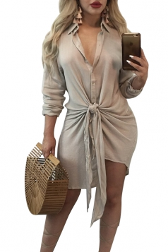 Womens Sexy V-Neck Long Sleeve Lace Up Clubwear Shift Dress Apricot