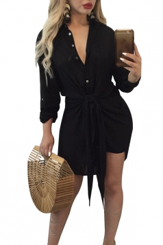 Womens Sexy V-Neck Long Sleeve Lace Up Clubwear Shift Dress Black