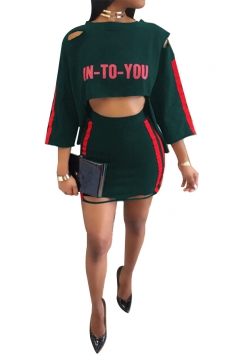 Womens Sexy Crop Top Patchwork Bodycon Two Piece Clubwear Dress Green