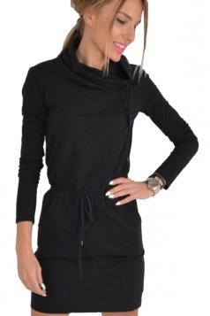 Drawstring Heaps Collar Elastic Wasit Plain Long Sleeve Dress Black