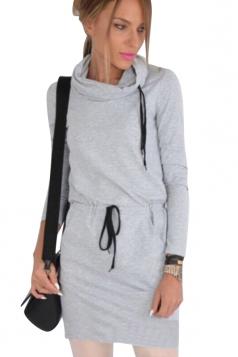 Drawstring Heaps Collar Elastic Wasit Plain Long Sleeve Dress Gray