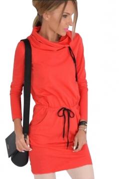 Drawstring Heaps Collar Elastic Wasit Plain Long Sleeve Dress Orange