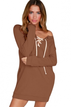 V-Neck Eyelet Lace Up One Shoulder Pocket Long Sleeve Dress Brown