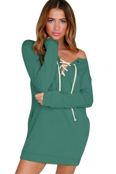V-Neck Eyelet Lace Up One Shoulder Pocket Long Sleeve Dress Green