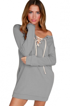 V-Neck Eyelet Lace Up One Shoulder Slant Pocket Long Sleeve Dress Gray