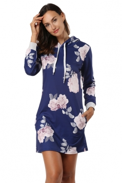 Floral Printed Long Sleeve Pocket Drawstring Hooded Shirt Dress Blue
