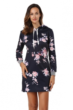 Floral Printed Long Sleeve Pocket Drawstring Hooded Shirt Dress Black