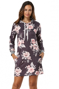 Floral Printed Long Sleeve Drawstring Hooded Shirt Dress Dark Gray