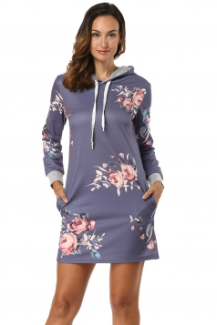 Floral Printed Long Sleeve Pocket Drawstring Hooded Shirt Dress Gray