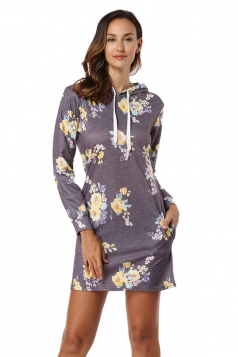 Floral Printed Long Sleeve Drawstring Hooded Shirt Dress Light Gray