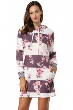 Floral Printed Long Sleeve Pocket Drawstring Hooded Shirt Dress White