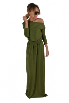 Elegant One Shoulder Lace Up Long Sleeve Maxi Evening Dress Army Green