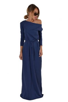 Elegant One Shoulder Lace Up Long Sleeve Maxi Evening Dress Blue