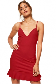 Womens Deep V Spaghetti Straps Backless Ruffle Bodycon Dress Red