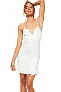 Womens Deep V Spaghetti Straps Backless Ruffle Bodycon Dress White