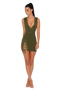 Deep V Sleeveless Eyelet Lace Up Zipper Bodycon Dress Army Green