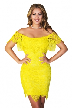 Womens Sexy Off Shoulder Cut Out Midi Lace Clubwear Dress Yellow