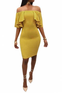 Womens Sexy Off Shoulder High Waist Ruffle Midi Clubwear Dress Yellow