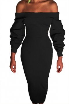Womens Sexy Off Shoulder Long Sleeve Wrap Maxi Clubwear Dress Black