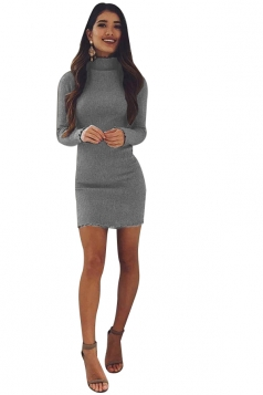 Womens Sexy High Collar Long Sleeve Plain Bodycon Dress Gray