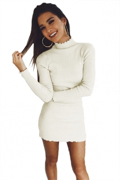 Womens Sexy Long Sleeve Maxi Pullover Sweater Clubwear Dress White