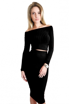 Womens Off Shoulder Long Sleeve Maxi Two-Piece Clubwear Dress Black