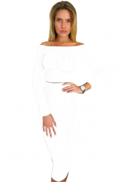 Womens Off Shoulder Long Sleeve Maxi Two-Piece Clubwear Dress White