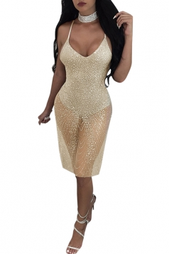Womens Sexy Spaghetti Straps V-Neck Sheer Hem Clubwear Dress Gold
