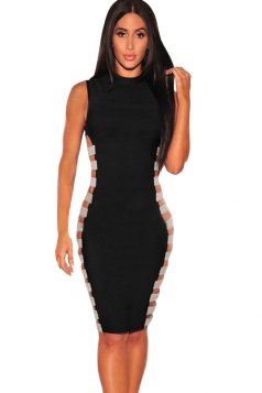 Womens Sexy Side Split Sleeveless Bodycon Bandage Clubwear Dress Black