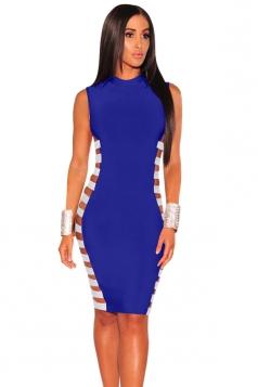 Womens Sexy Sleeveless Bodycon Bandage Clubwear Dress Sapphire Blue