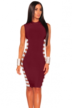 Womens Sexy Side Split Sleeveless Bodycon Bandage Clubwear Dress Ruby