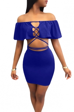 Sexy Off Shoulder Ruffled Collar Lace Up Clubwear Dress Sapphire Blue