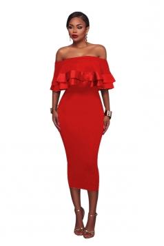 Womens Sexy Off Shoulder Ruffle Back Zipper Midi Clubwear Dress Red