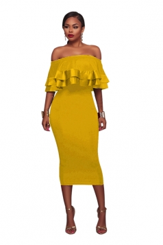 Womens Sexy Off Shoulder Ruffle Back Zipper Midi Clubwear Dress Yellow