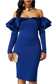 Womens Royal Sexy Off Shoulder Ruffle Long Sleeve Bodycon Dress Blue