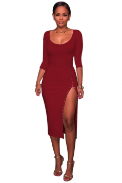 Womens Sexy Side Slit Long Sleeve Studded Plain Bodycon Dress Ruby
